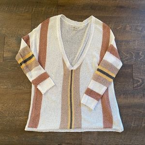 Cozy Casual Striped Slouchy V Neck Sweater